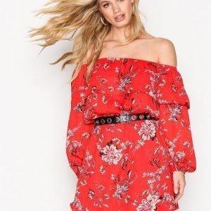 Glamorous Floral Bardot Dress Mekko Red