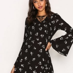 Glamorous Floral Ls Dress Loose Fit Mekko Black Flower