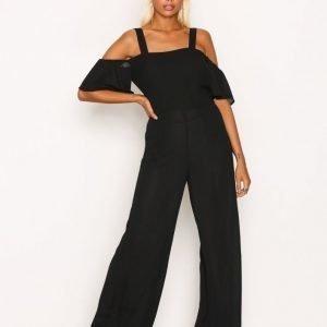 Glamorous Frill Strap Jumpsuit Black