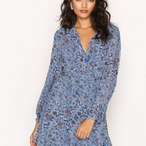 Glamorous L / S Floral Dress Pitkähihainen Mekko Dusty Blue