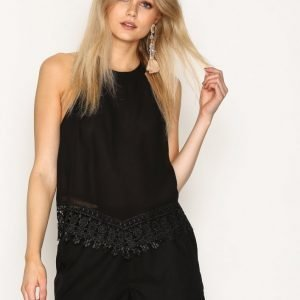 Glamorous Lace Trim Top Toppi Black