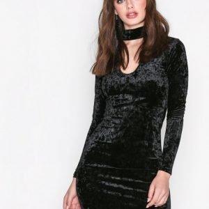 Glamorous Long Sleeve Choker Dress Maksimekko Black