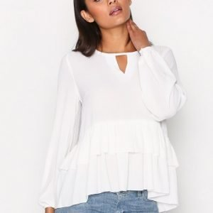 Glamorous Long Sleeve Frill Blouse Juhlapaita White