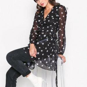 Glamorous Long Sleeve Print Dress Skater Mekko Black