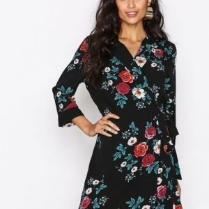 Glamorous Long Sleeve Wrap Dress Pitkähihainen Mekko Black Rose