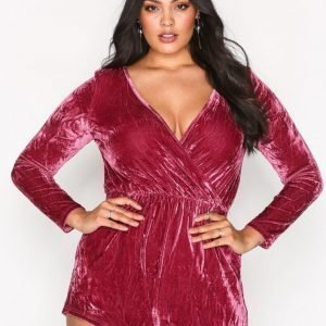 Glamorous Long Sleeve Wrap Playsuit Burgundy