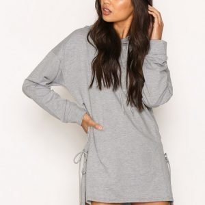 Glamorous Longline Lace Detail Hoodie Svetari Grey