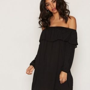 Glamorous Off Shoulder Ls Dress Loose Fit Mekko Black