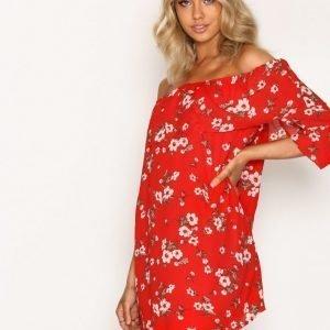 Glamorous Off Shoulder Ls Dress Loose Fit Mekko Red