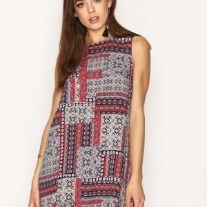 Glamorous Patchwork Print Dress Loose Fit Mekko Navy / Red