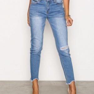 Glamorous Raw Hem Ripped Knee Jeans Skinny Farkut Mid Blue