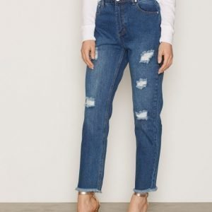 Glamorous Ripped Jeans Straight Farkut Mid Blue