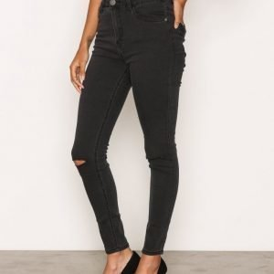 Glamorous Ripped Knee Jeans Skinny Farkut Washed Black