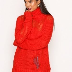 Glamorous Ripped Polo Jumper Neulepusero Red