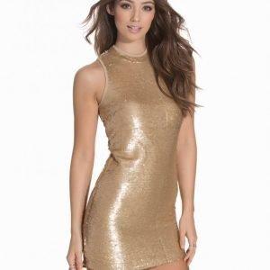 Glamorous Sequin Bodycon Paljettimekko Golden