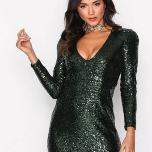 Glamorous Sequin Party Dress Paljettimekko Dark Green
