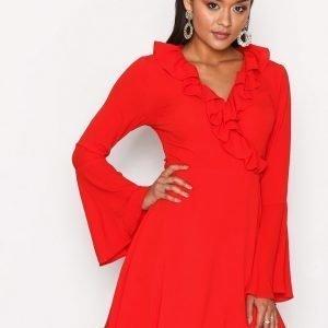 Glamorous Short Sleeve Chiffon Dres Mekko Red