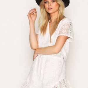 Glamorous V-Neck Playsuit Cream