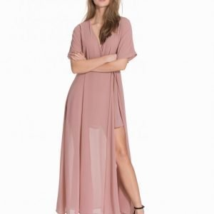 Glamorous V-Neck Tie Waist Maxi Dress Maksimekko Dusty Pink