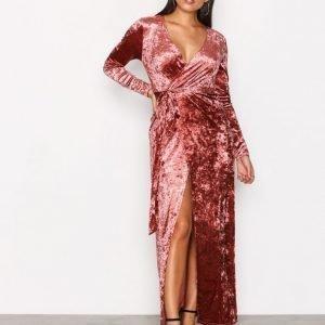 Glamorous Velvet Wrap Dress Maksimekko Dusty Pink