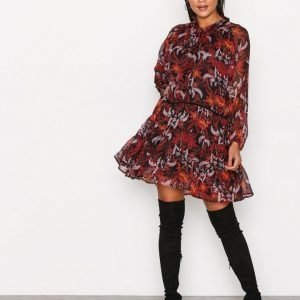 Glamorous Winter Floral Dress Pitkähihainen Mekko Burgundy