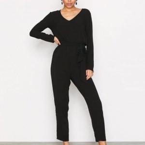 Glamorous Wrap Tie Jumpsuit Black