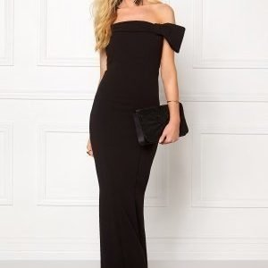 Goddiva Bardot Fishtail Maxi Dres Black