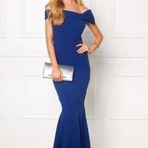 Goddiva Bardot Fishtail Maxi Dres Royal Blue