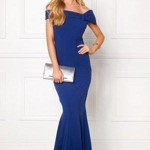 Goddiva Bardot Fishtail Maxi Dres Royal Blue