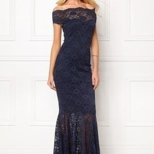 Goddiva Bardot Lace Maxi Dress Navy