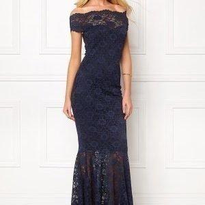 Goddiva Bardot Lace Maxi Dress Navy