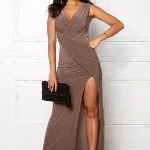 Goddiva Front Split Maxi Dress Mocha