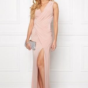 Goddiva Front Split Maxi Dress Nude