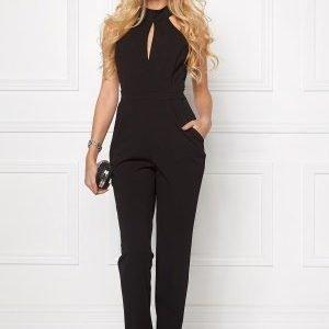 Goddiva Keyhole Cutout Jumpsuit Black