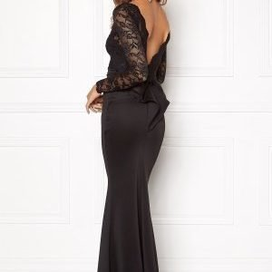 Goddiva Open Back Lace Dress Black