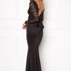 Goddiva Open Back Lace Dress Black