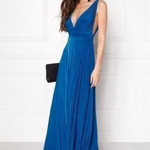 Goddiva Pleated Oscar Dress Royal Blue