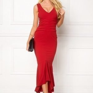 Goddiva V Neck Pleated Peplum Red