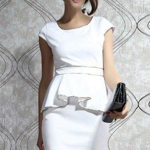 Gold valkoinen peplum-mekko (Plus Size)