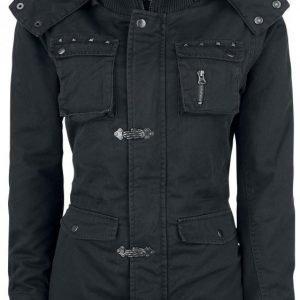 Gothicana By Emp Black Skeleton Hand Jacket Naisten Talvitakki