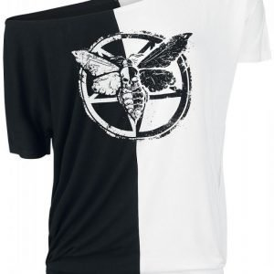 Gothicana By Emp Contrast Moth Ladies Tee Naisten T-paita