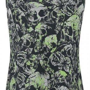 Gothicana By Emp Green Splash Skulls Naisten Toppi