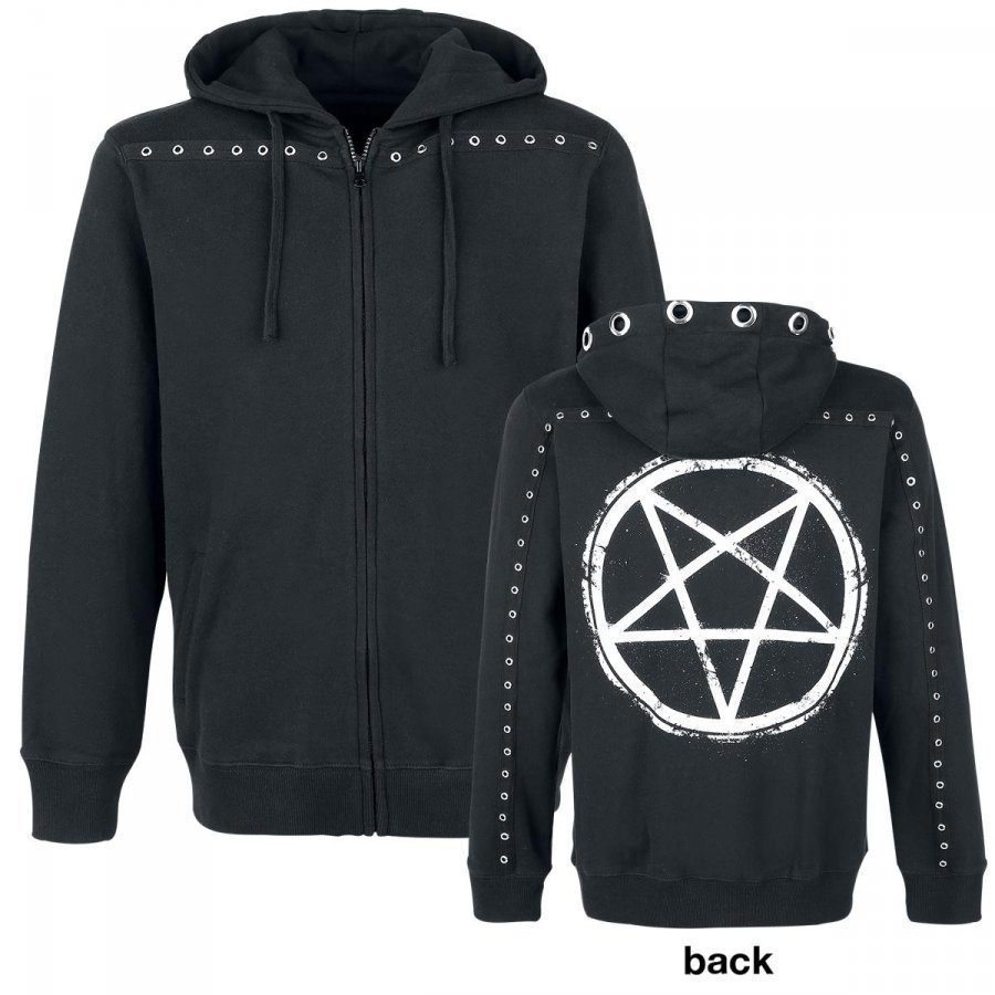 Gothicana By Emp Pentagram Eyelet Hoodie Jacket Huppari