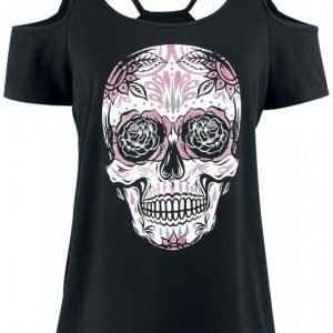Gothicana By Emp Sugar Skull Cold Shoulder Shirt Naisten T-paita