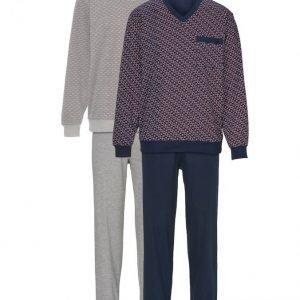 Gregory Pyjama Meleerattu Harmaa / Viininpunainen