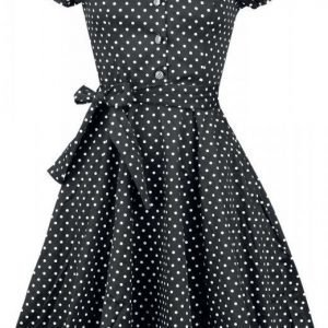 H&R London Black White Small Dot Long Dress Mekko