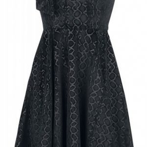 H&R London Desirable Black Velvet Flocked Tea Dress Mekko