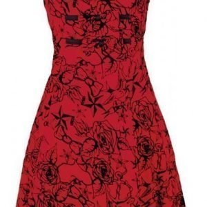 H&R London Red Flocking Long Dress Mekko
