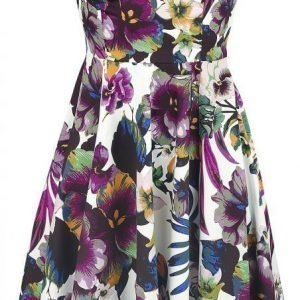 H&R London White Purple Pansies Floral Swing Dress Mekko