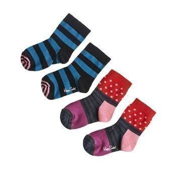 Happy socks Kids Block Stripe Sock Black 2 pakkaus